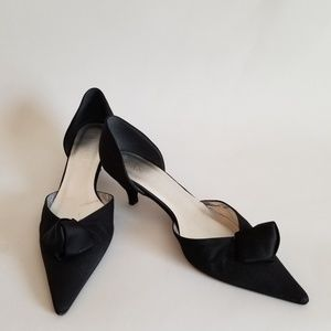 Anne Klein Shoes Black Fabric 7 1/2M Made In Italy
